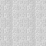 3D white paper art Square Geometry Cross Tracer Frame. Vector stylish decoration pattern background for web banner greeting card design Royalty Free Stock Image