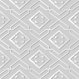 3D white paper art Star Geometry Check Spiral Cross Frame. Vector stylish decoration pattern background for web banner greeting card design Royalty Free Stock Images
