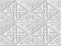 3D white paper art Triangle Check Cross Frame Chain. Vector stylish decoration pattern background for web banner greeting card design Stock Photography