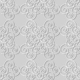 3D white paper art Vortex Spiral Curve Cross Frame Vine. Vector stylish decoration pattern background for web banner greeting card design Royalty Free Stock Photos