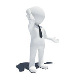 3d white pensive man Stock Photo