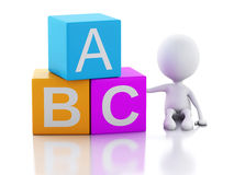 3d white people with ABC cubes on white background. 3d illustration. White people with ABC blocks.  on white background Royalty Free Stock Image