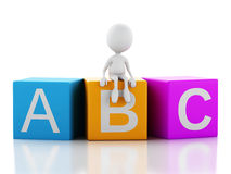 3d white people with ABC cubes on white background. Stock Photo