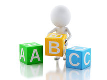 3d white people with ABC cubes on white background. Stock Photography