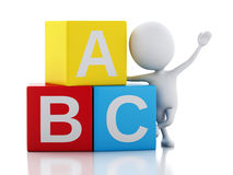 3d white people with ABC cubes on white background. 3d illustration. White people with ABC blocks.  on white background Royalty Free Stock Photos