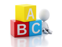 3d white people with ABC cubes on white background. 3d illustration. White people with ABC blocks.  on white background Stock Image