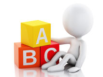 3d white people with ABC cubes on white background. 3d illustration. White people with ABC blocks.  on white background Royalty Free Stock Images