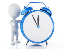 3d white people with Alarm clock Royalty Free Stock Image