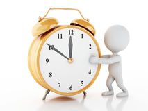 3d white people with Alarm clock Royalty Free Stock Photos
