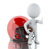3d White people with american football helmet and ball. Royalty Free Stock Photos