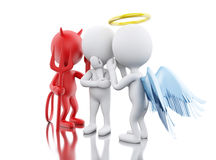 3D White people with Angel and Devil. 3D Illustration. White people contemplation a decision with Angel and Devil. Isolated white background Royalty Free Stock Photography