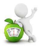 3d white people apple scale concept. White background, 3d image Stock Photos