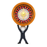 3d white people as business man with spinning roulette Royalty Free Stock Photos
