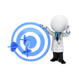 3d white people as doctor standing near arrows in target Stock Image