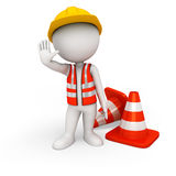 3d white people as road worker standing with triangles Royalty Free Stock Photo