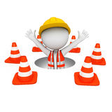 3d white people as road worker with triangle Stock Photos
