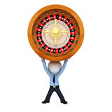 3d white people as service man with spinning roulette Royalty Free Stock Photography