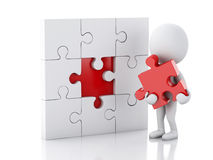 3d white people assemble piece of a puzzle. Stock Images