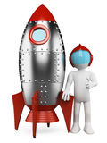 3D white people. Astronaut with spaceship. 3d white retro astronaut with spaceship and thumb up. White background Royalty Free Stock Photos