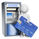 3D white people. ATM. Credit card Royalty Free Stock Image