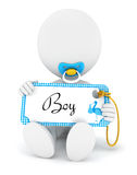 3d white people baby boy holding an name tag Royalty Free Stock Photography