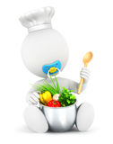3d white people baby cooks. Isolated white background, 3d image Royalty Free Stock Photo