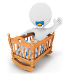 3d white people baby in cradle. Isolated white background, 3d image Stock Photos