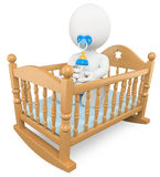 3D white people. Baby in the crib. 3d white baby in crib with pacifier and baby bottle. White background Stock Photo