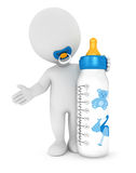 3d white people baby feeding bottle. White background, 3d image Stock Photos
