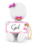 3d white people baby girl holding an name tag. White background, 3d image Royalty Free Stock Image