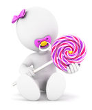 3d white people baby girl and a lollipop. White background, 3d image Stock Photos