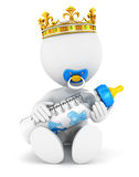 3d white people baby king. Isolated white background, 3d image Stock Images