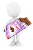 3d white people bar of chocolate. White background, 3d image Royalty Free Stock Image