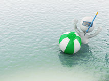 3d white people with beach ball in water. 3d white people with beach ball in the sea. Summer vacation concept Royalty Free Stock Photo