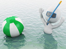 3d white people with beach ball in water. 3d white people with beach ball in the sea. Summer vacation concept Stock Images