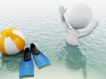 3d white people with beach ball in water. Stock Photo