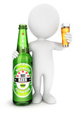 3d white people beer bottle Stock Photography