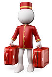 3D white people. Bellhop with two suitcases. 3D white people. Bellhop with two trolley suitcases. White background Royalty Free Stock Photo