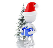 3d White people with blue gift box and Christmas tree in fresh s. 3d renderer image. White people with blue gift box and Christmas tree in fresh snow. Christmas Royalty Free Stock Photography