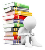 3D white people. Boy with stack of books. School failure. White background Royalty Free Stock Images