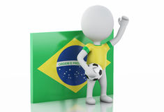 3d white people with Brazil flag and soccer ball. Stock Photos