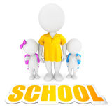 3d white people bringing children to school Stock Photo