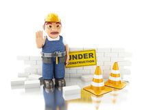3d white people building a brick wall. 3d renderer illustration. Worker and brick wall. Under construction concept. Isolated white background Royalty Free Stock Image