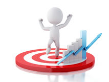 3d white people with business statistic graph in red target. Royalty Free Stock Photo