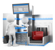 3D white people. Businessman checking baggage in airport Stock Images