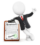 3d white people businessman contract. White background, 3d image Stock Photography