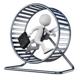 3D white people. Businessman in a hamster wheel Stock Image
