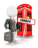 3d white people businessman in London. Isolated white background, 3d image Royalty Free Stock Images