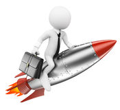 3D white people. Businessman on a rocket. Achieve the objectives concept. Isolated white background Stock Images