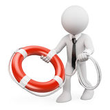 3D white people. Businessman throwing a life preserver Stock Photos
